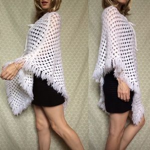 Vintage Sweaters - Crochet Knit Shawl White Pancho Hippie LOVE
